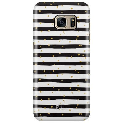 Stripes Gold Black White Kryt Samsung S7 Edge