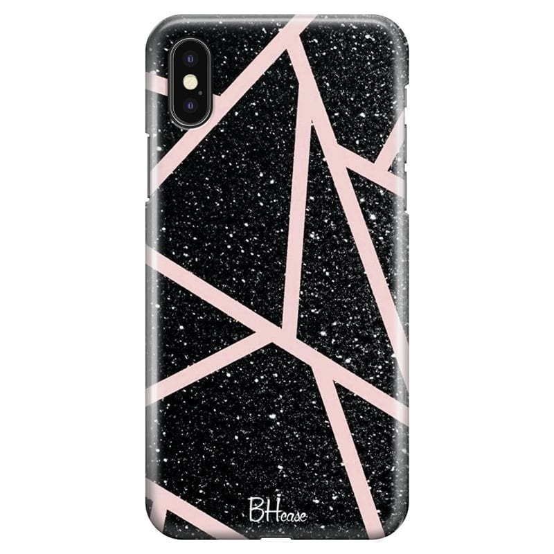 Black Glitter Pink Kryt iPhone XS Max