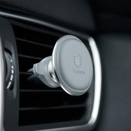 Baseus Magnetic Car Mount With Cable Clip Silver