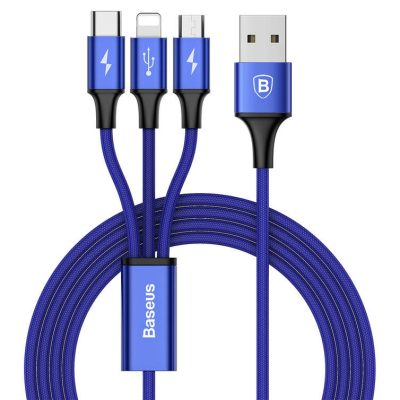 Baseus Rapid Series USB to Type-C and Lighting and MicroUSB 3-in-1 Blue 120 cm
