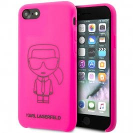 Karl Lagerfeld Silicone Black Out Pink Kryt iPhone 8/7/SE 2 2020