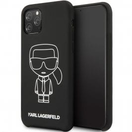 Karl Lagerfeld Silicone White Out Black Kryt iPhone 11 Pro Max