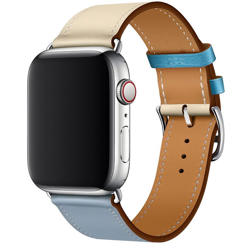 Koženkový Remienok Apple Watch 42/44mm Blue Lin Craie
