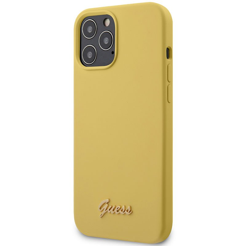 Guess Silicone Metal Logo Script Yellow Kryt iPhone 12/12 Pro