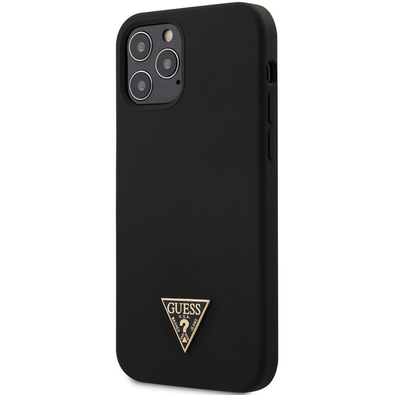 Guess Silicone Metal Triangle Black Kryt iPhone 12/12 Pro