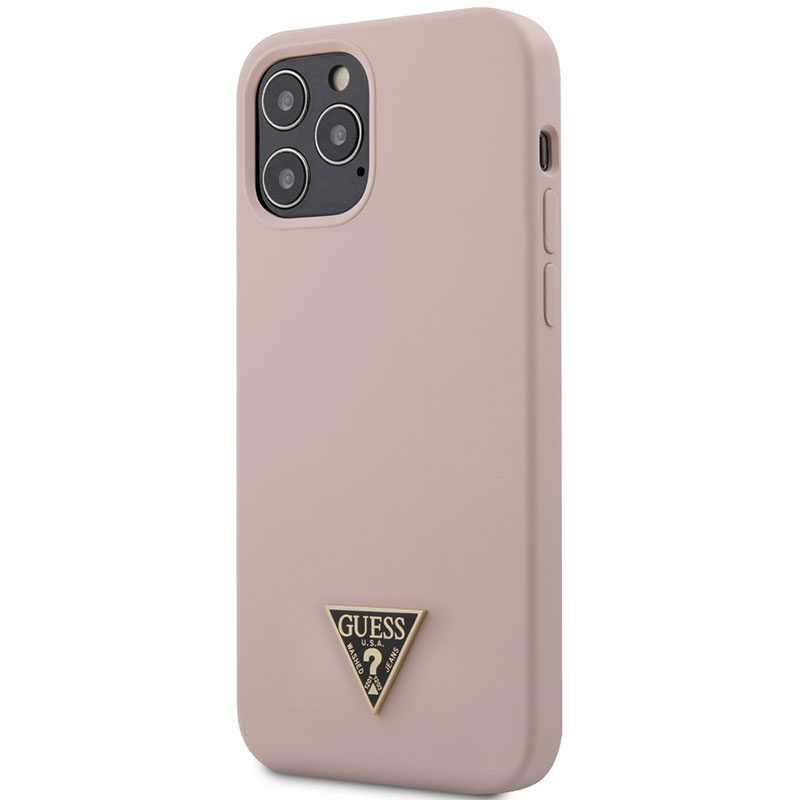 Guess Silicone Metal Triangle Light Pink Kryt iPhone 12/12 Pro