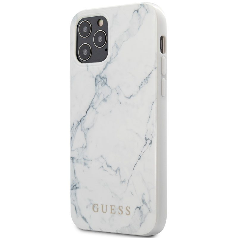 Guess TPU Marble White Kryt iPhone 12/12 Pro