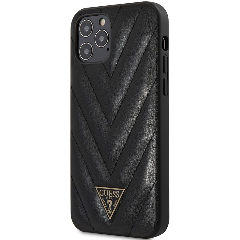 Guess V Quilted Black Kryt iPhone 12/12 Pro