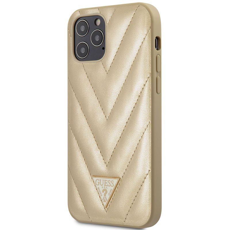 Guess V Quilted Gold Kryt iPhone 12/12 Pro