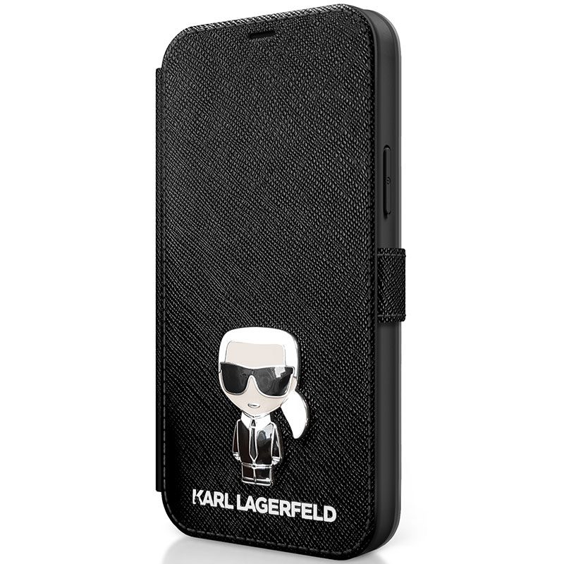 Karl Lagerfeld Saffiano Iconic Book Black Kryt iPhone 12 Mini