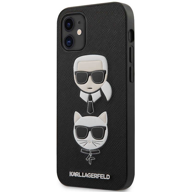 Karl Lagerfeld Saffiano K&C Heads Black Kryt iPhone 12 Mini