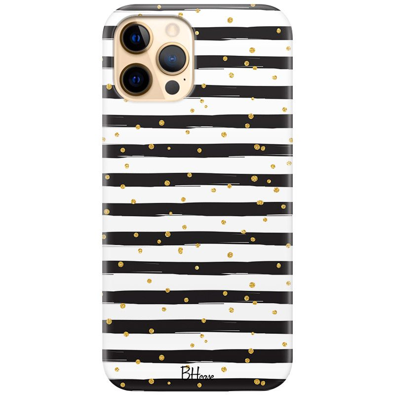 Stripes Gold Black White Kryt iPhone 12 Pro Max