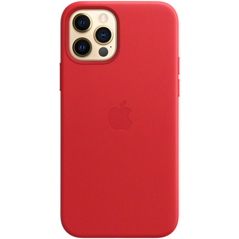 Apple Red Leather MagSafe Kryt iPhone 12/12 Pro