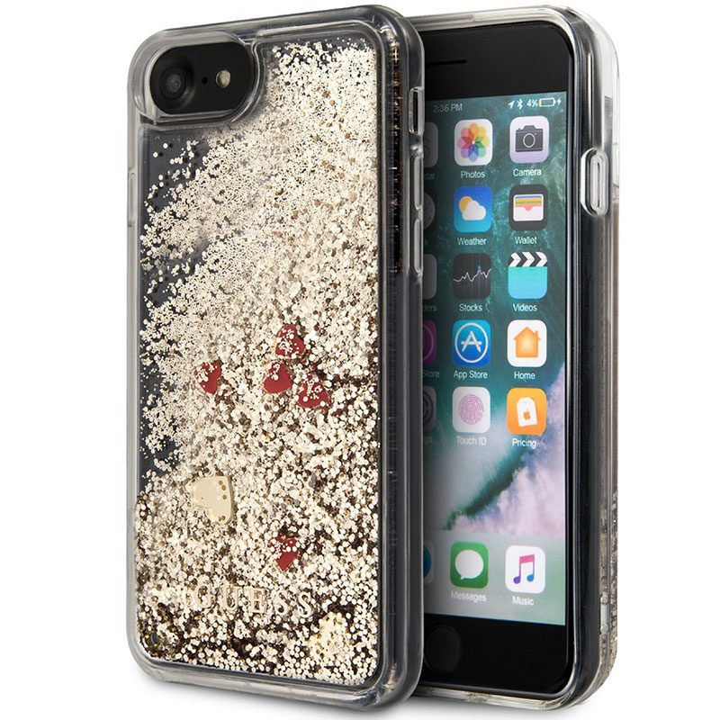 Guess Glitter Floating Hearts Gold Kryt iPhone 8/7/SE 2 2020