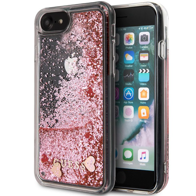 Guess Glitter Floating Hearts Pink Kryt iPhone 8/7/SE 2 2020