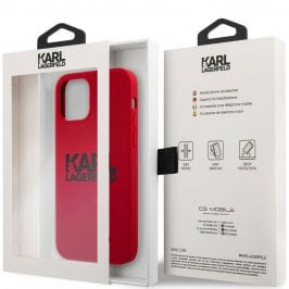 Karl Lagerfeld Stack Black Logo Silicone Red Kryt iPhone 12/12 Pro