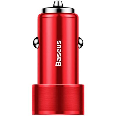 Baseus Car Charger Small Screw Dual USB Quick Charge 36W Red