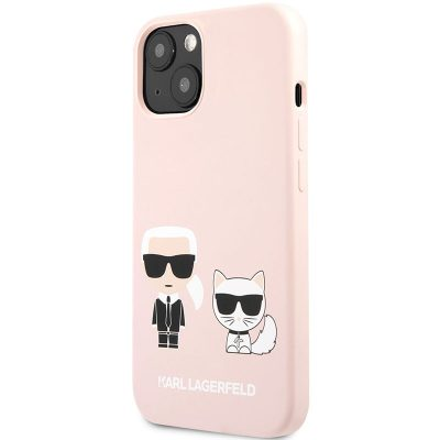 Karl Lagerfeld and Choupette Liquid Silicone Pink Kryt iPhone 13 Mini