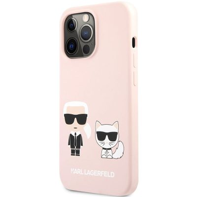 Karl Lagerfeld and Choupette Liquid Silicone Pink Kryt iPhone 13 Pro
