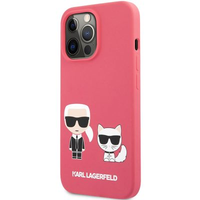 Karl Lagerfeld and Choupette Liquid Silicone Red Kryt iPhone 13 Pro