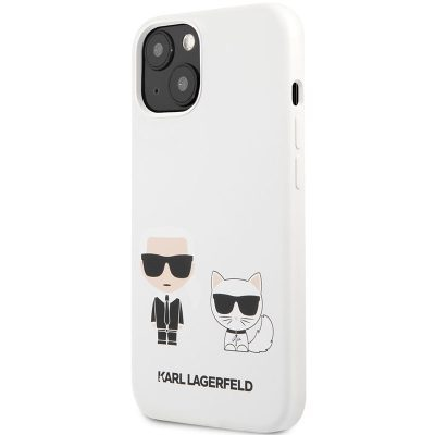 Karl Lagerfeld and Choupette Liquid Silicone White Kryt iPhone 13 Mini