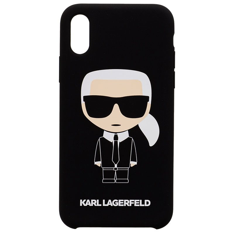 Karl Lagerfeld Iconic Full Body Silicone Black Kryt iPhone X/XS