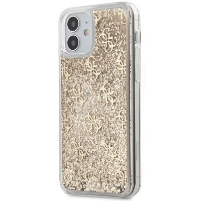 Guess 4G Liquid Glitter Gold Kryt iPhone 12 Mini