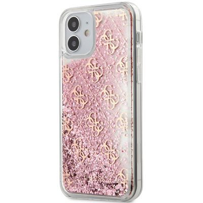 Guess 4G Liquid Glitter Pink Kryt iPhone 12 Mini