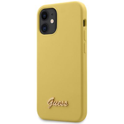 Guess Silicone Metal Logo Script Yellow Kryt iPhone 12 Mini