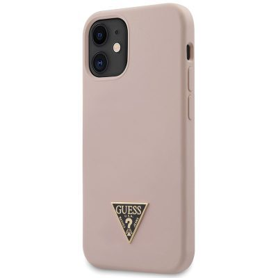 Guess Silicone Metal Triangle Light Pink Kryt iPhone 12 Mini