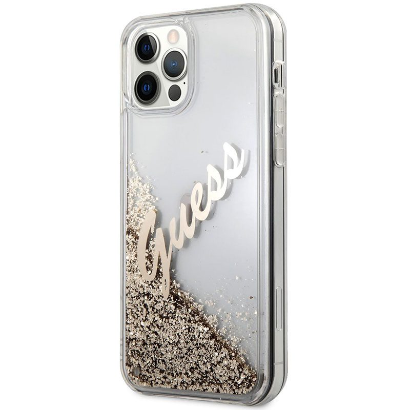 Guess Silicone Liquid Glitter Vintage Gold Kryt iPhone 12 Pro Max