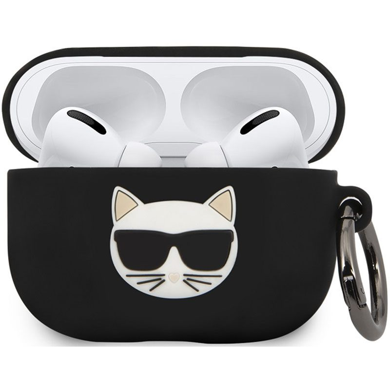 Karl Lagerfeld Choupette Head AirPods Pro Silicone Kryt Black