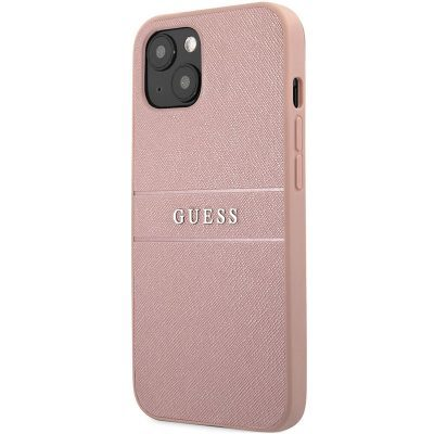 Guess PU Leather Saffiano Pink Kryt iPhone 13 Mini