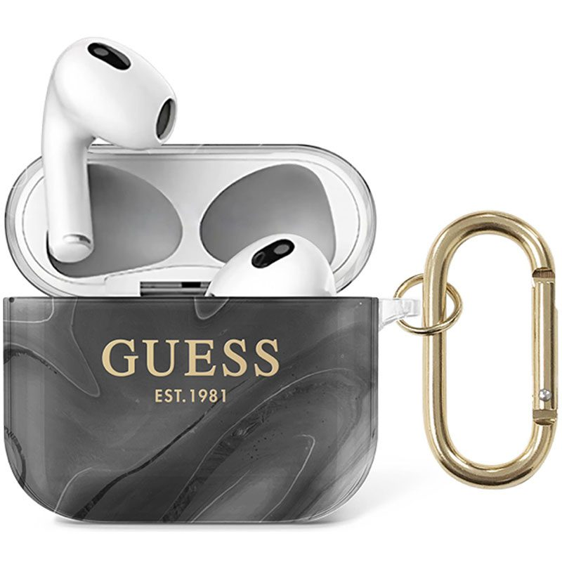 Guess Shiny Marble AirPods 3 TPU Case Black
