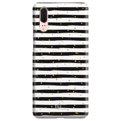 Stripes Gold Black White Huawei P20 Tok