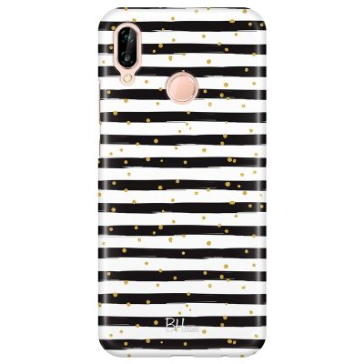 Stripes Gold Black White Huawei P20 Lite Tok