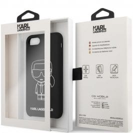 Karl Lagerfeld Silicone White Out Black iPhone 8/7/SE 2 2020 Tok