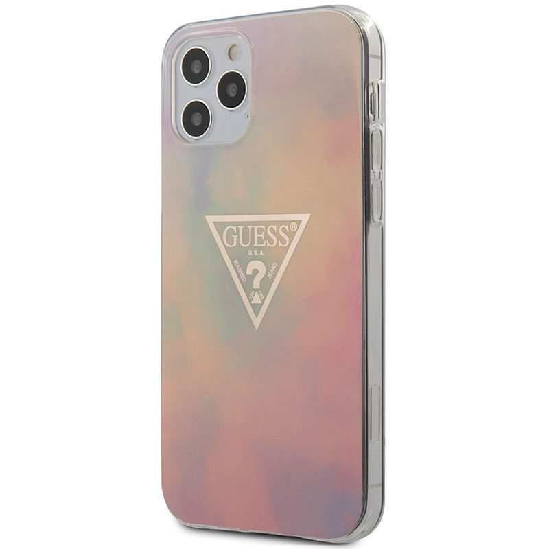 Guess TPU Gold Triangle Pink iPhone 12/12 Pro Tok
