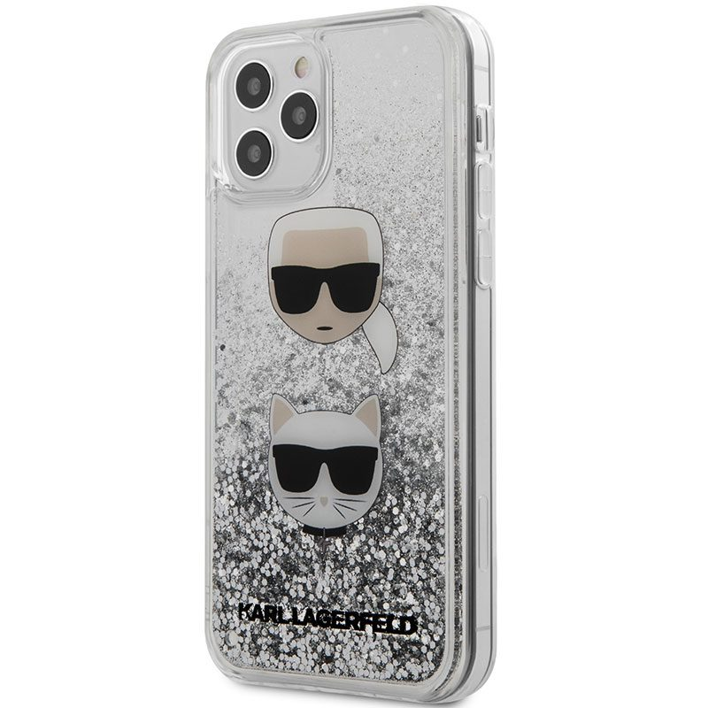 Karl Lagerfeld Liquid Glitter 2 Heads Silver iPhone 12/12 Pro Tok