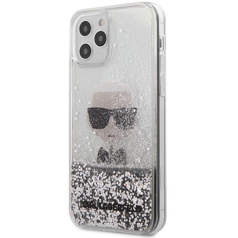 Karl Lagerfeld Liquid Glitter Iconic Silver iPhone 12/12 Pro Tok
