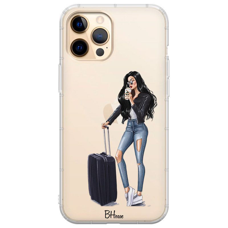 Woman Black Haired With Baggage iPhone 12 Pro Max Tok