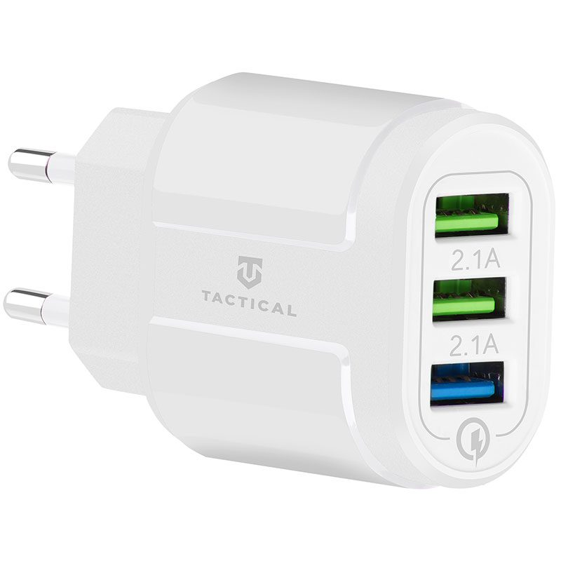 Tactical 3xUSB-A QC 3.0 3A Travel Charger White