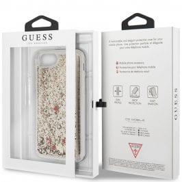 Guess Glitter Floating Hearts Gold iPhone 8/7/SE 2 2020 Tok