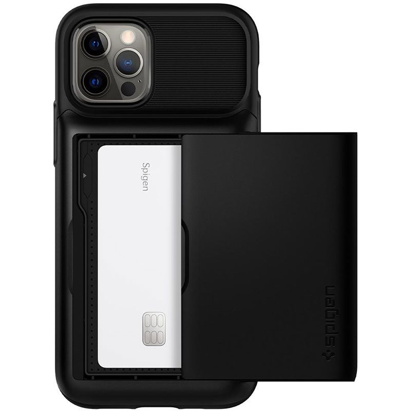Spigen Slim Armor Wallet Black iPhone 12/12 Pro Tok