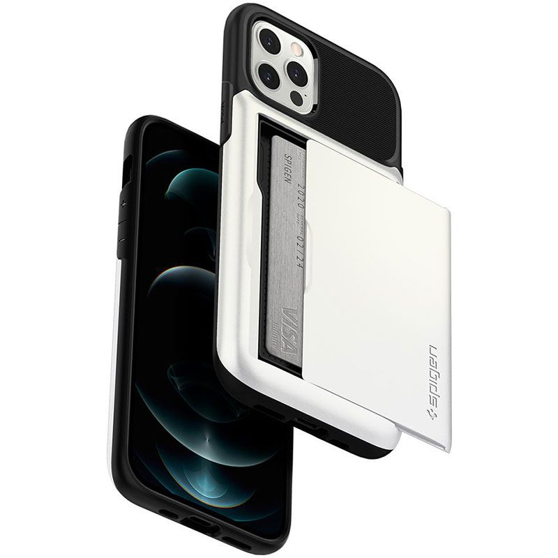 Spigen Slim Armor Wallet Pearl White iPhone 12/12 Pro Tok