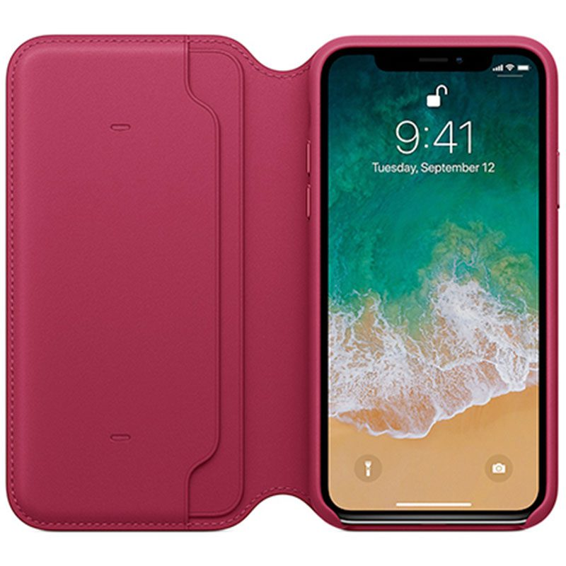 Apple Leather Folio Berry iPhone X Tok