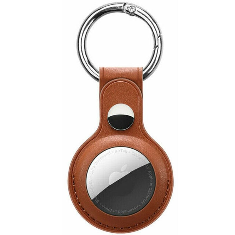 Leather Key Ring Case for AirTag Brown