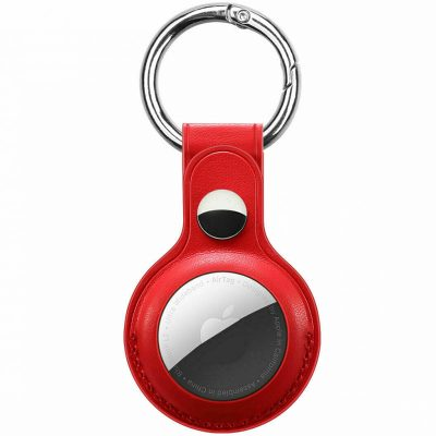 Leather Key Ring Case for AirTag Red