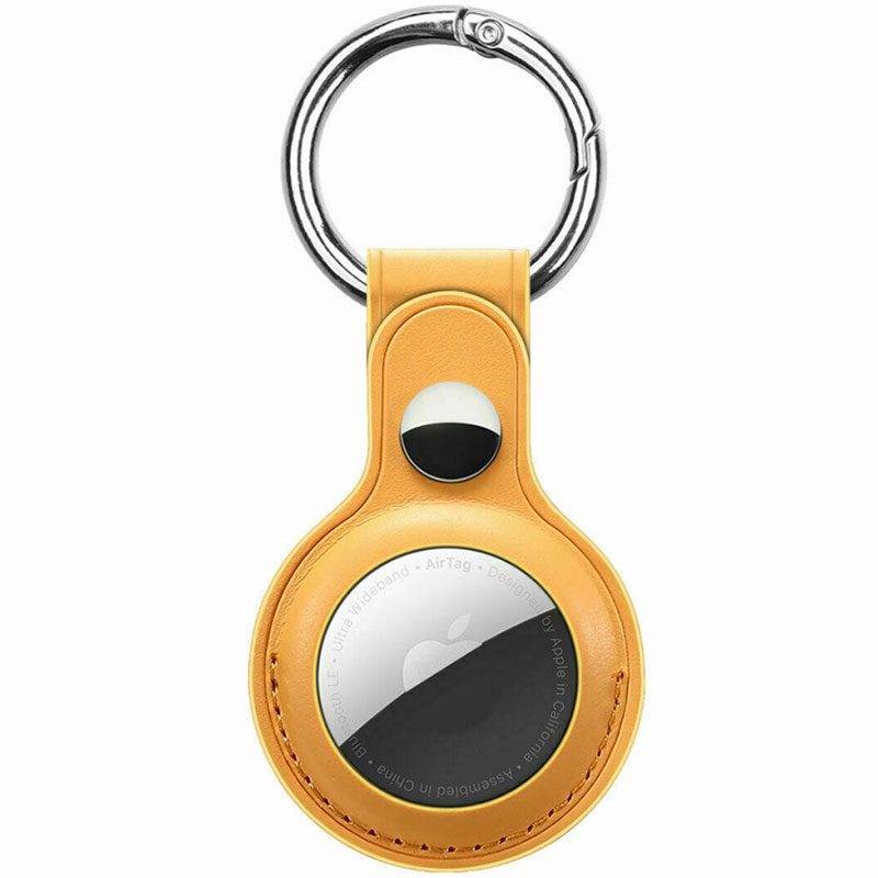 Leather Key Ring Case for AirTag Yellow