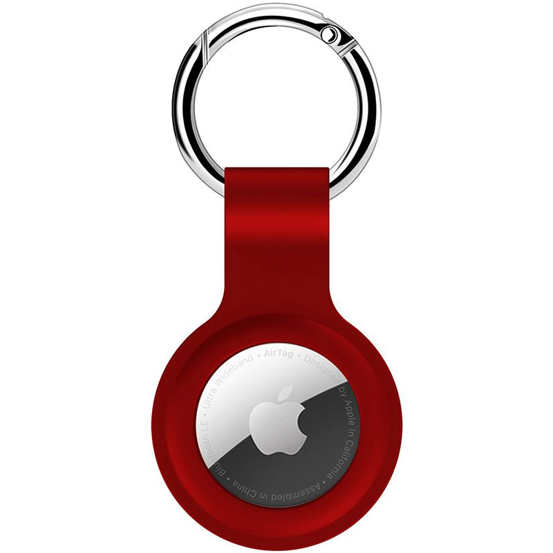 Silicone Key Ring Case for AirTag Red